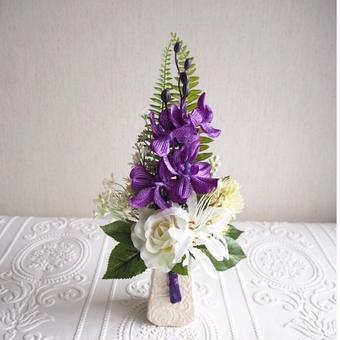 ●新作 仏花【枯れない お供え花】パープル& ホワイト*お花たっぷり 陽花B39