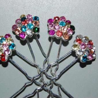 4 horquillas princesa multicolor