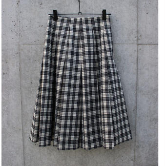 Check wool pleats skirt
