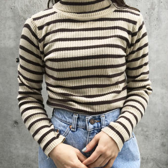 border turtleneck sweater