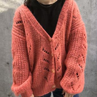coral pink cardigan