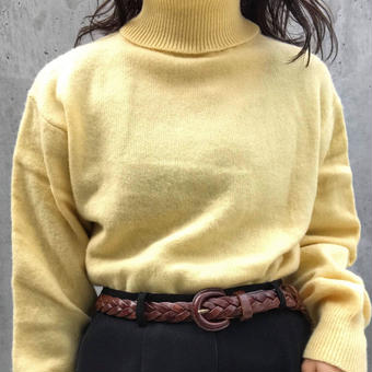 lemon yellow turtleneck sweater