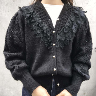 lace pearl cardigan