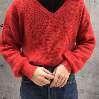 v neck red sweater