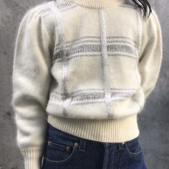 silver line puff sleeve knit
