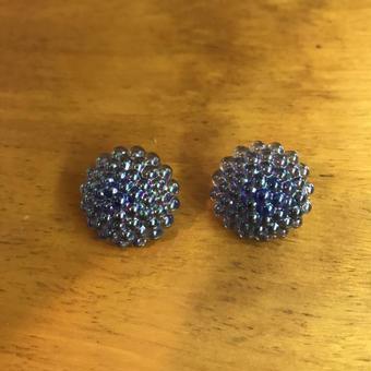 No.265 ブルーのつぶつぶパーツのイヤリング