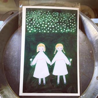 card ::: お花摘みの女の子