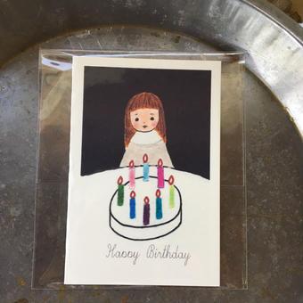 お誕生日祝に ::: card ::: バースデーケーキと女の子
