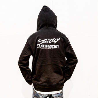 [予約受付中] Hoodie: Strictly Antifascist (black / back printed / full zip)