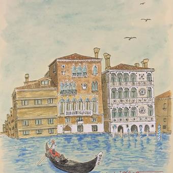 「あこがれのヴェネツィア」色紙にテンペラ画