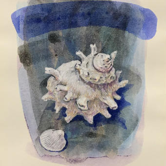 「海の音色」画用紙にテンペラ画