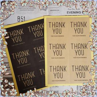 【ラストワン!】Thank You ギフト シール ステッカー【ブラック&ブラウン】