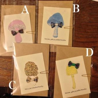 nemunoki:封筒付き おめかしきのこカード