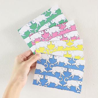 nemunoki:白猫ミミ おさんぽ柄ポストカード [p21-24]