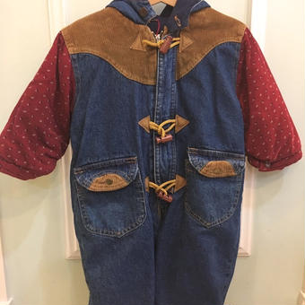 【USED】Denim & Corduroy pattern Duffle  Outer Rompers