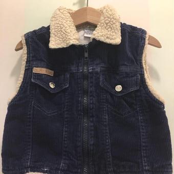 【USED】Corduroy boa collar vest
