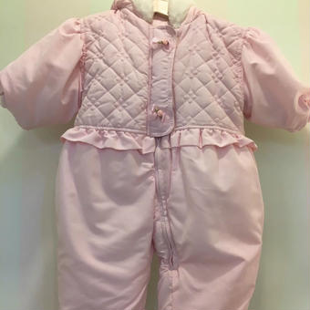 【USED】Pink quilting Hoodie Outer Rompers
