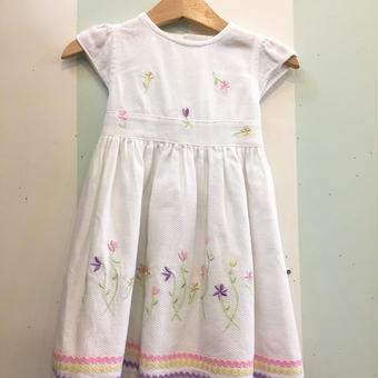 【USED】Colorful flower motif white Dress