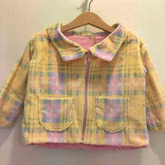 【USED】 check printed boa  jacket