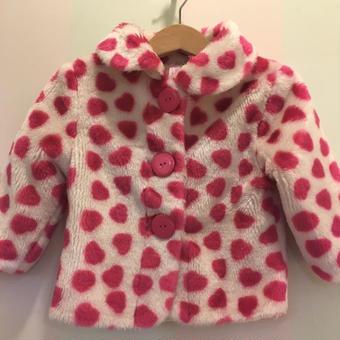 【USED】Pink dot fur coat