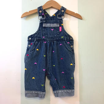 【USED】Heart embroidery Denim overall