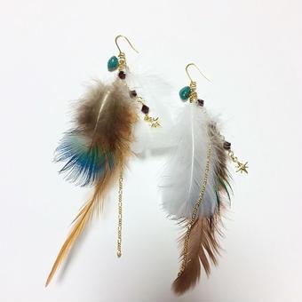 【Mlagoon】turquoise & redjewelry ピアス