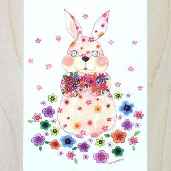 ポストカード〈バラ売り〉 ブーケうさぎ_PC-Y129