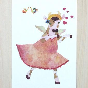 ポストカード〈バラ売り〉 バレリーナうし_PC-Y080