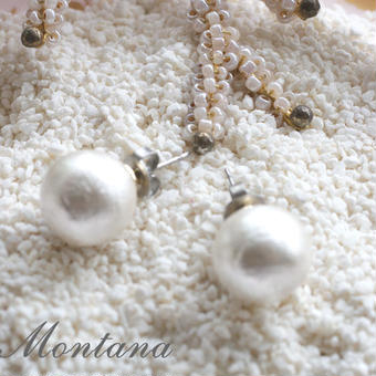 CottonPearl pierced earrings