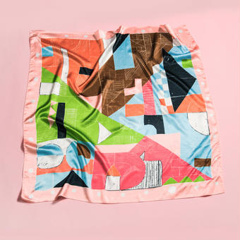 "YUMIYOSHIMOTO square scarf series ""a window journal""       Holiday factory"