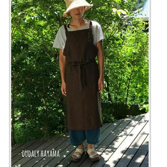 Linen apron brown