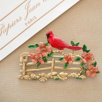 JJ ヴィンテージブローチ  赤い鳥とフェンス