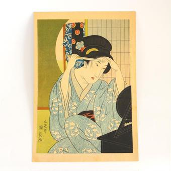 ヴィンテージ浮世絵ポスター Printed in 1937 Cお顔の手入れ中の女性/D髪洗美人