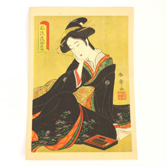 ヴィンテージ浮世絵ポスター Printed in 1937 E風流花ごよみ 黒着物の女性/F読書する女性