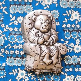 JJ ヴィンテージブローチ ティータイムの熊のグランパ