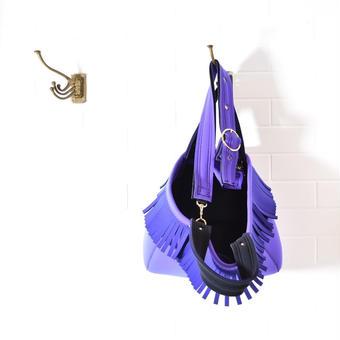 NEW_Lozz Sandra/Fringe Totebag_Grape x purple_ストラップ付き