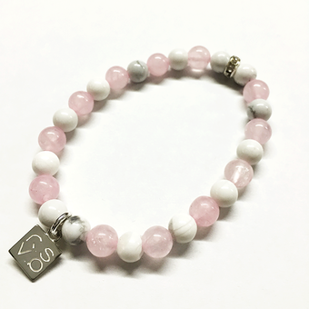 NATURAL STONE BEAD BRACELET (ROSE QUARTZ / HOWLITE)