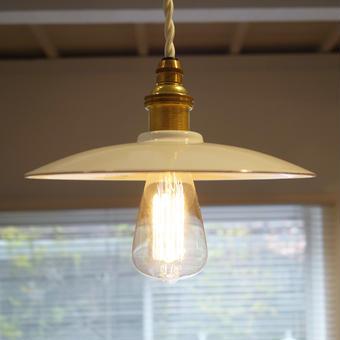 """ホーローペンダント照明 白布撚りコード """"Edison Bulb"""""""