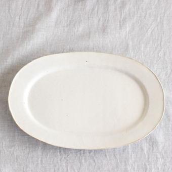 馬酔木 誠(アセビマコト)さんのオーバル皿(L)  白マット