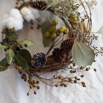 増田由希子さんのリース「鳥の巣」〜木の実