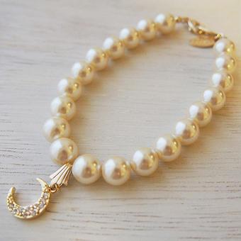 pearl×moon charm bracelet
