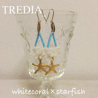 coral×beads×starfish charm pierce
