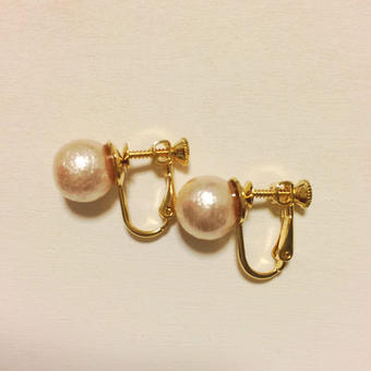 10mm cottonpearl earring(ピンク)