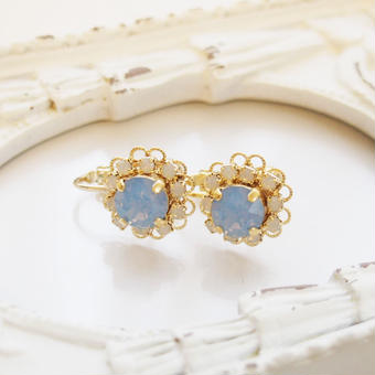 flower bijou earring(エアーブルーオパール)