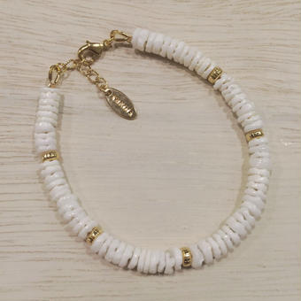 shell×metalparts bracelet(white)