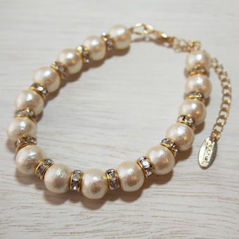 cottonpearl×rondel bracelet typeA