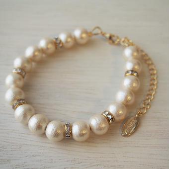 cottonpearl×rondel bracelet typeB