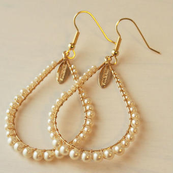 pearl hoop pierce(cream)
