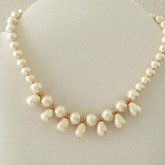 cottonpearl fringe  necklace