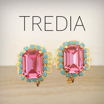square moroccocolor earring(pink×turquoise)